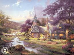 Thorin & Co arrive at Smarmdell, Kinkade style.
