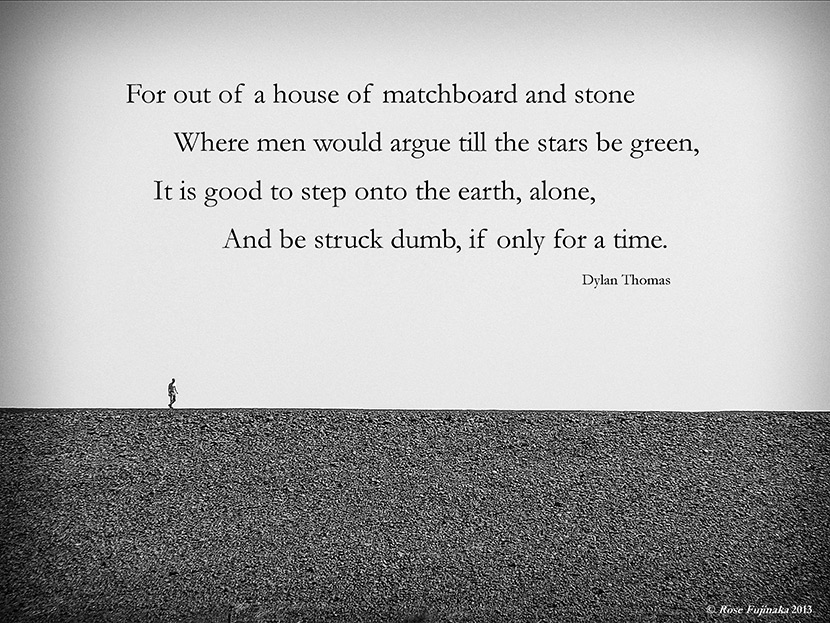 "A picture quote from the Dylan Thomas poem ""Out of a War of Wits."" ""For out of a house of matchboard and stone Where men would argue till the stars be green, It is good to step onto the earth, alone, And be struck dumb, if only for a time."""